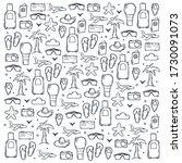 travel sketch. hand draw doodle ... | Shutterstock .eps vector #1730091073