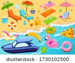 summer beach vacation items set ... | Shutterstock .eps vector #1730102500