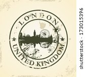 grunge rubber stamp with london ... | Shutterstock .eps vector #173015396