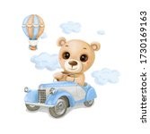 Watercolor Baby Bear On A ...