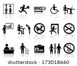 office sign icons set | Shutterstock .eps vector #173018660