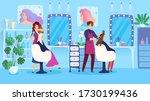 woman hairstyle in beauty salon ... | Shutterstock .eps vector #1730199436
