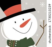 cute snowman smile face  vector ... | Shutterstock .eps vector #1730213239