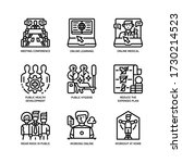 new normal after covid 19 icons ...   Shutterstock .eps vector #1730214523