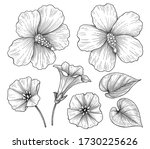 hand drawn hibiscus and... | Shutterstock .eps vector #1730225626