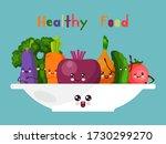 healthy joyful food cartoon... | Shutterstock .eps vector #1730299270