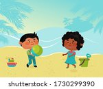 Small Character Kid Play Sand...