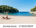 A deserted beach in Montenegro. Quiet bay in the Adriatic Sea am - stock photo