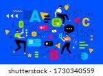 teamwork communication in... | Shutterstock .eps vector #1730340559