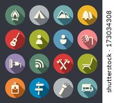 camping flat icons