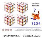 set of logic 3d sudoku puzzle...   Shutterstock .eps vector #1730356633