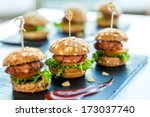 Close Up Of Mini Hamburgers At...