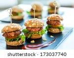 Close Up Of Mini Hamburgers At...