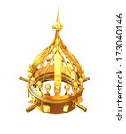 Gold Crown Isolated On White...