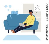 man sitting on a couch working... | Shutterstock .eps vector #1730411200
