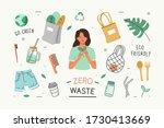 zero waste lifestyle. woman use ... | Shutterstock .eps vector #1730413669