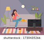 girl eats a burger and watches...   Shutterstock .eps vector #1730435266