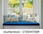 Bay Window With Blue And White...