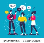 man and woman chatting... | Shutterstock .eps vector #1730470006