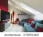 Blue Sofa In A Modern Living...