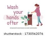 woman washing hands....   Shutterstock .eps vector #1730562076