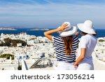 happy  women standing  on the... | Shutterstock . vector #173056214