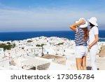 happy  women standing  on the... | Shutterstock . vector #173056784