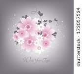 wedding card or invitation with ... | Shutterstock .eps vector #173057534