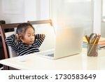 the asian little girl is... | Shutterstock . vector #1730583649