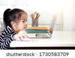 the asian little girl is... | Shutterstock . vector #1730583709
