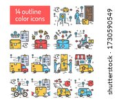 delivery color line icons set....