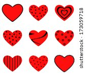 Set Of Nine Red Hearts