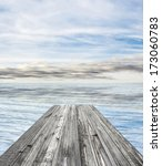 wooden pier on sunny day with... | Shutterstock . vector #173060783