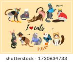 cats dressed in  costumes.... | Shutterstock .eps vector #1730634733