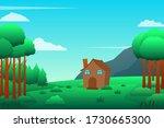 house near the forest vector... | Shutterstock .eps vector #1730665300
