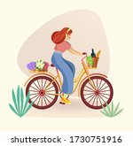 Woman Riding A Vintage Bicycle...