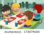 Stock vector a vector illustration of elementary students eating lunch in cafeteria 173079650