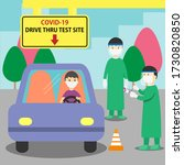 a man driving to covid 19 drive ... | Shutterstock .eps vector #1730820850
