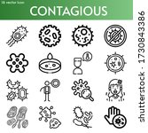 contagious line icon set on... | Shutterstock .eps vector #1730843386