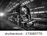 steam locomotive stands on the... | Shutterstock . vector #173085770