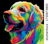 Colorful Dog Head With Cool...