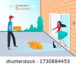 contactless delivery service ...   Shutterstock . vector #1730884453