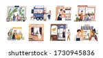 set of happy cartoon diverse... | Shutterstock .eps vector #1730945836