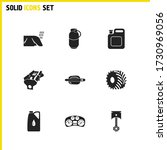 auto icons set with car piston  ...