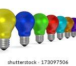 row of reflective light bulbs... | Shutterstock . vector #173097506