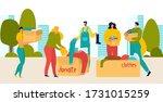 volunteers donate people with... | Shutterstock .eps vector #1731015259