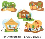 volunteers help senior and... | Shutterstock .eps vector #1731015283