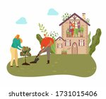 People planting tree in garden with country house, plants and gardening at nature, men with showel in garden isolated vector illustration. Gardeners in summer growing fruit tree. - stock vector