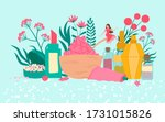 organic cosmetics with plants ... | Shutterstock .eps vector #1731015826