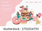 bakery shop landing page with... | Shutterstock .eps vector #1731016753